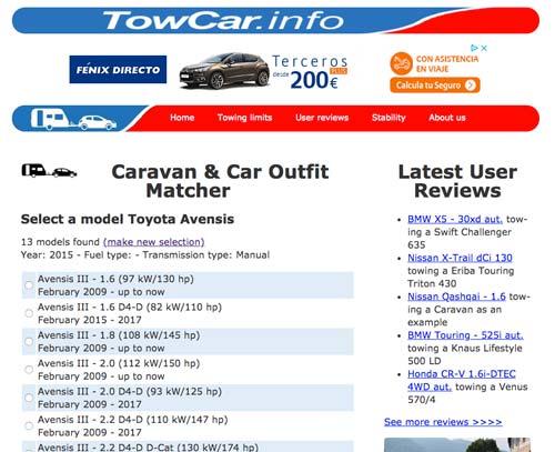 Tutorial TowCar.info - Paso 2 seleccionar el modelo del coche
