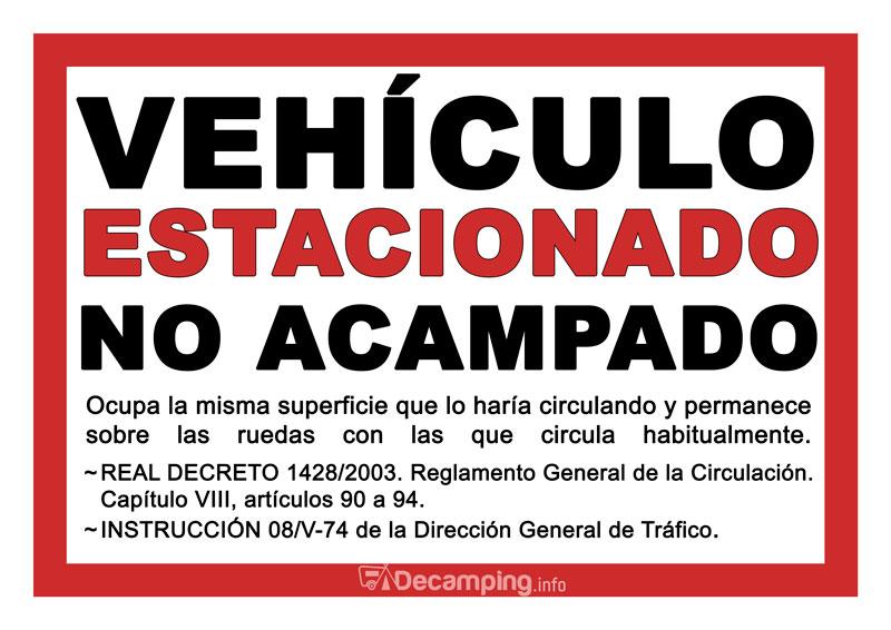 Vehículo estacionado NO ACAMPADO