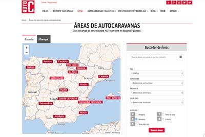 Buscador de áreas de autocaravanas de autocaravanas.es