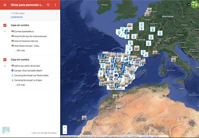 Mapa de Sitios para pernoctar con caravana: