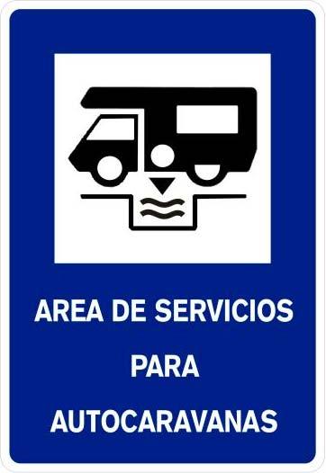 Señal homologada S-122 área de servicios para autocaravanas