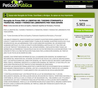 Petición iniciada por el colectivo Autocaravanistas por sus derechos