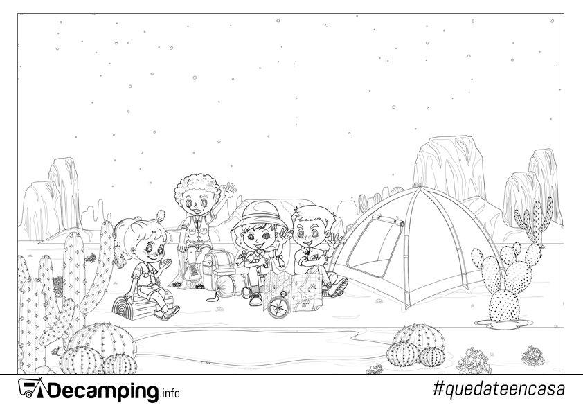 Dibujo de niños campistas en el desierto para colorear
