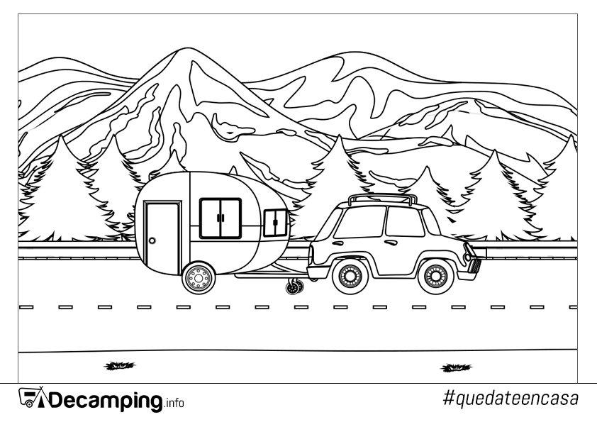 Dibujo de ruta hacia el camping para colorear