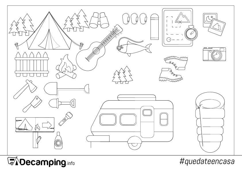 Dibujo varios elementos de camping para colorear