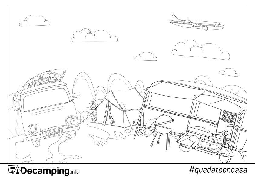 Dibujo de camping para colorear