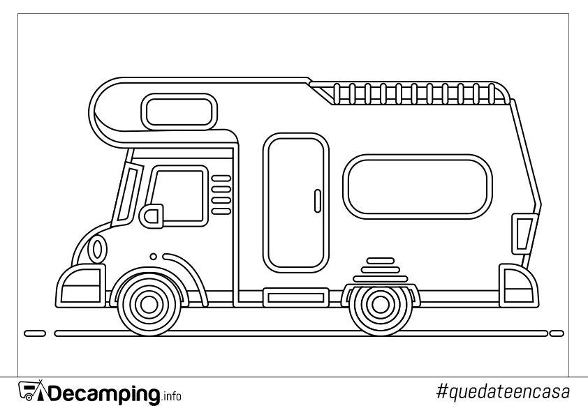 Dibujo autocaravana para colorear